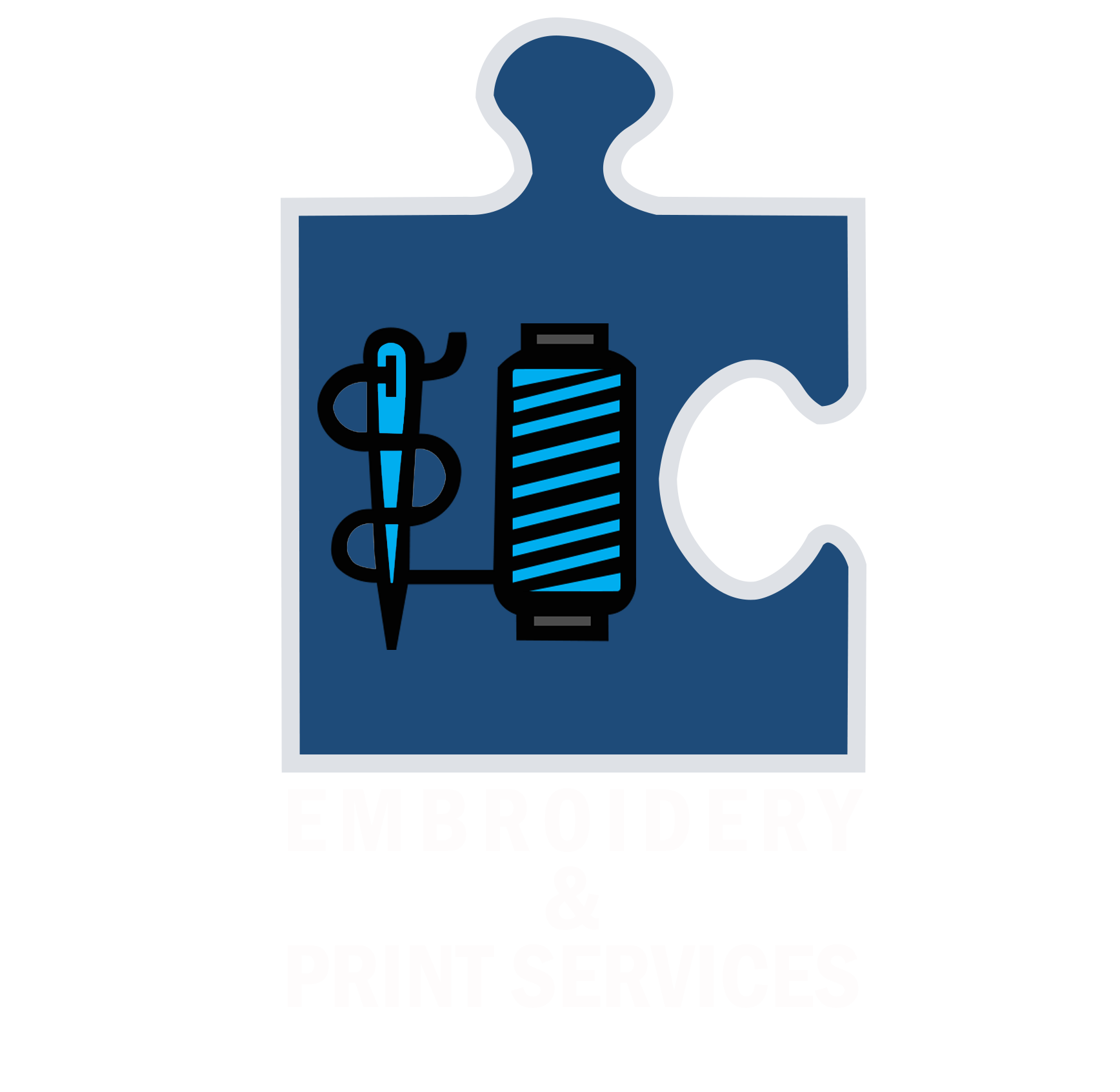 Embroidery and Services White Text