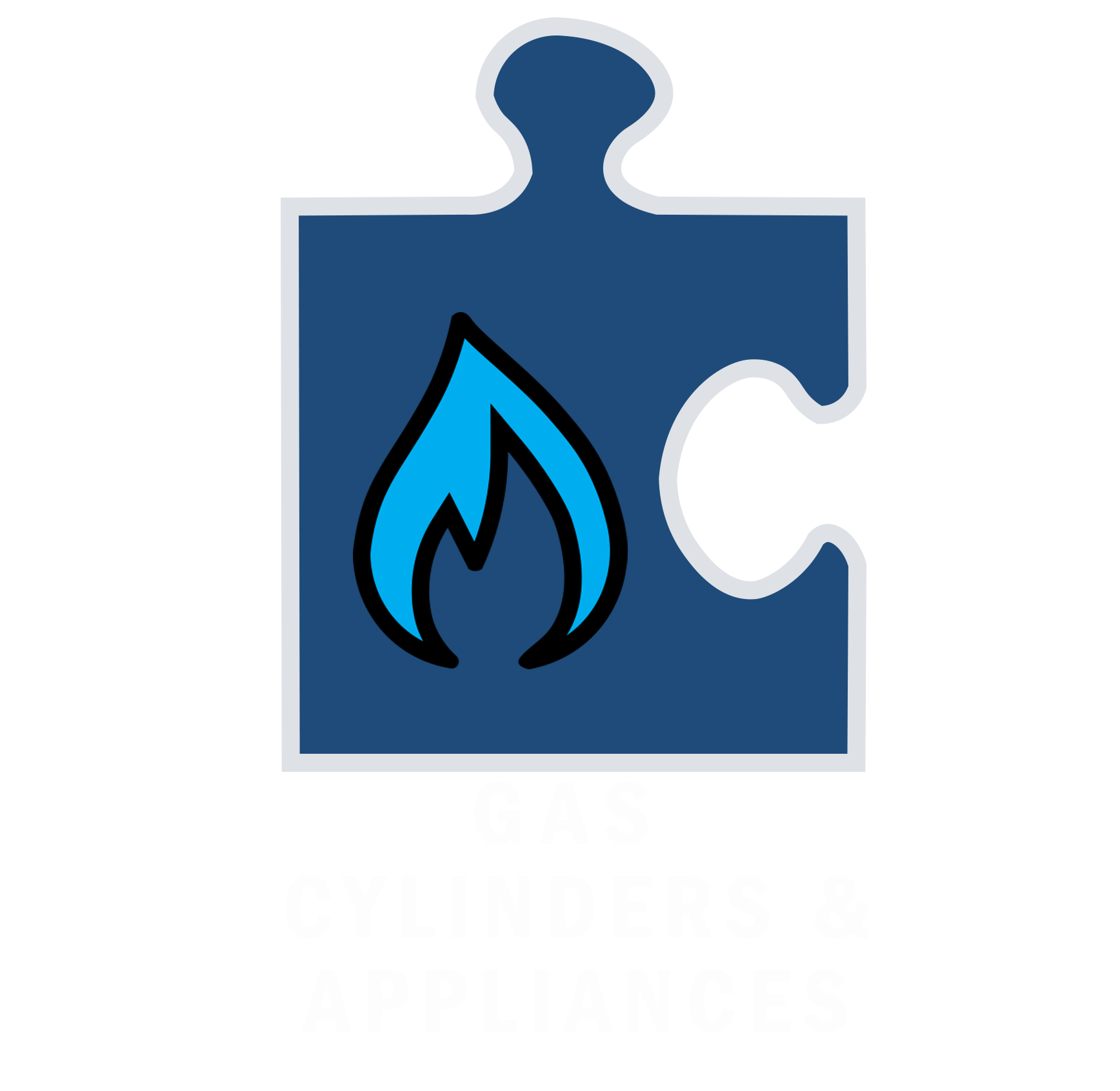 Gas Cylinders and appliances White Text